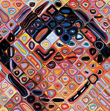 Chuck Close self-portrait Closup
